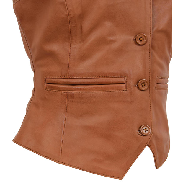 Womens Soft Leather Waistcoat Slim Fit Vest Classic Gilet Katy Tan Feature