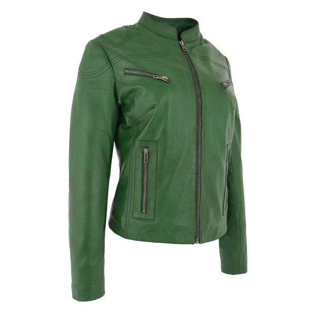 Womens Fitted Leather Biker Jacket Casual Zip Up Coat Jenny Green 3