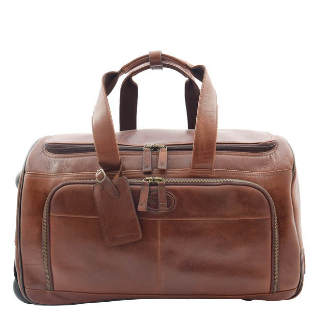 Wheeled Brown Leather Holdall Telescopic Handle Travel Duffle Ozwald Front 1