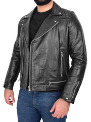Men Genuine Black Cowhide Biker Leather Jacket Trendy Cafe Racer Brando Cruz 5