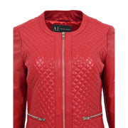 Women Collarless Red Leather Jacket Fitted Quilted Zip Up - Remi Feature 1