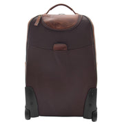 Wheeled Cabin Suitcase Real Brown Leather Luggage Travel Bag Carlos Back