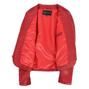 Women Collarless Red Leather Jacket Fitted Quilted Zip Up - Remi Lining