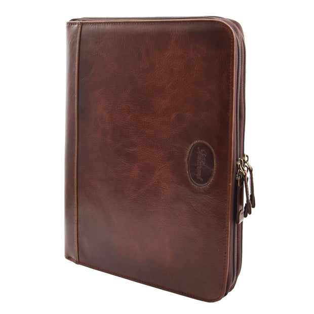 Real Brown Leather Folio Case Tablet A4 Document Underarm Conference Bag Ben Front 1
