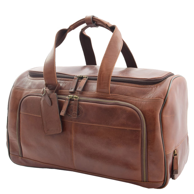 Wheeled Brown Leather Holdall Telescopic Handle Travel Duffle Ozwald Front 2