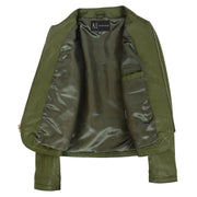 Women Collarless Olive Green Leather Jacket Fitted Quilted Zip Up - Remi Lining
