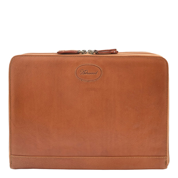 Real Tan Leather Folio Case A4 Document Underarm Conference Bag Ben Front 1