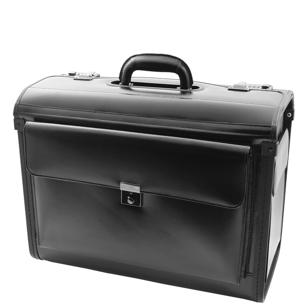 Black Leather Pilot Case Large Briefcase Professionals Hand Carry Bag 6