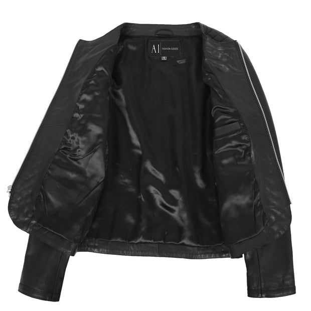 Women Collarless Black Leather Jacket Fitted Quilted Zip Up - Remi Lining