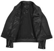 Men Genuine Black Cowhide Biker Leather Jacket Trendy Cafe Racer Brando Cruz 6