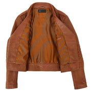 Womens Short Fitted Cognac Biker Style Real Leather Jacket Ayla Lining