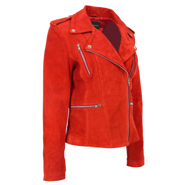 Womens Genuine X-Zip Fitted Biker Red Suede Leather Jacket Rusty 6