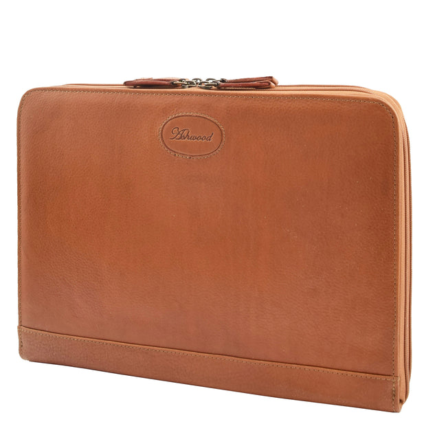 Real Tan Leather Folio Case A4 Document Underarm Conference Bag Ben Front 2