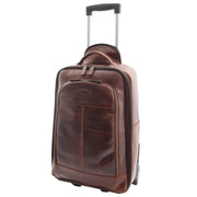 Wheeled Cabin Suitcase Real Brown Leather Luggage Travel Bag Carlos Front 2