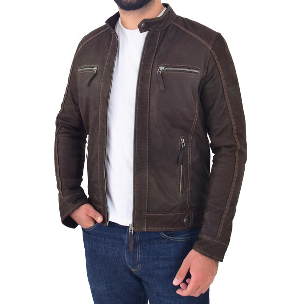 Mens Brown Waxed Skipper Real Leather Biker Style Jacket Captain Open 3