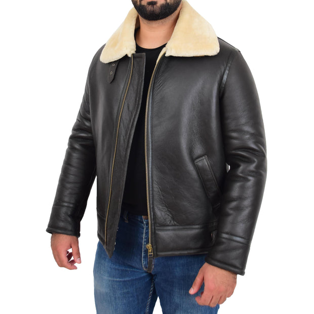 Mens Original Sheepskin Flying Jacket B3 Bomber Aviator Pilots Shearling Coat Raptor Brown/White Front Open 3