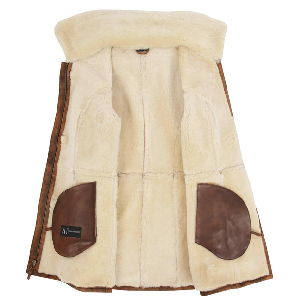 Womens Real Sheepskin Duffle Coat Hooded Shearling Jacket Armas Cognac Lining