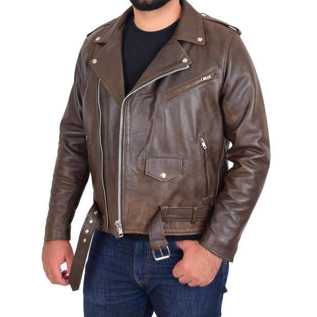 Mens Genuine Cowhide Biker Jacket Heavy Duty Antique Brown Leather Coat Rock Open 2