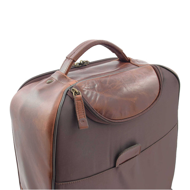 Wheeled Cabin Suitcase Real Brown Leather Luggage Travel Bag Carlos Feature