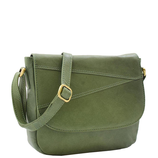 Womens Genuine Soft Green Leather Crossbody Bag Flap Over Organiser Gia
