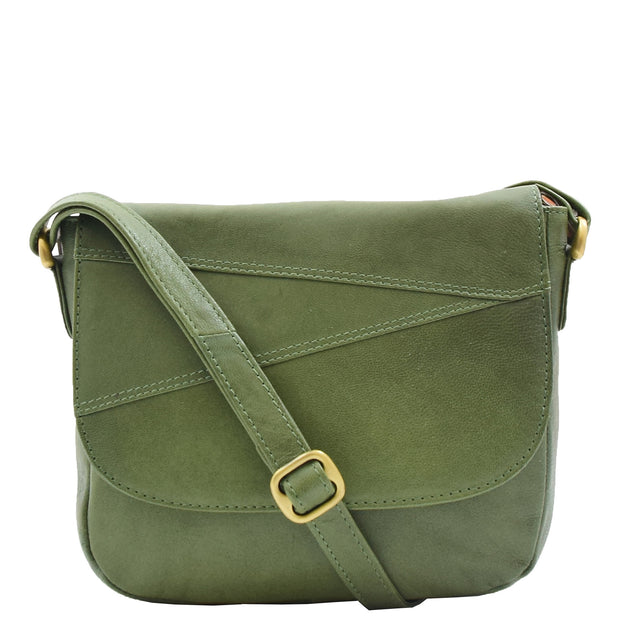 Womens Genuine Soft Green Leather Crossbody Bag Flap Over Organiser Gia 6