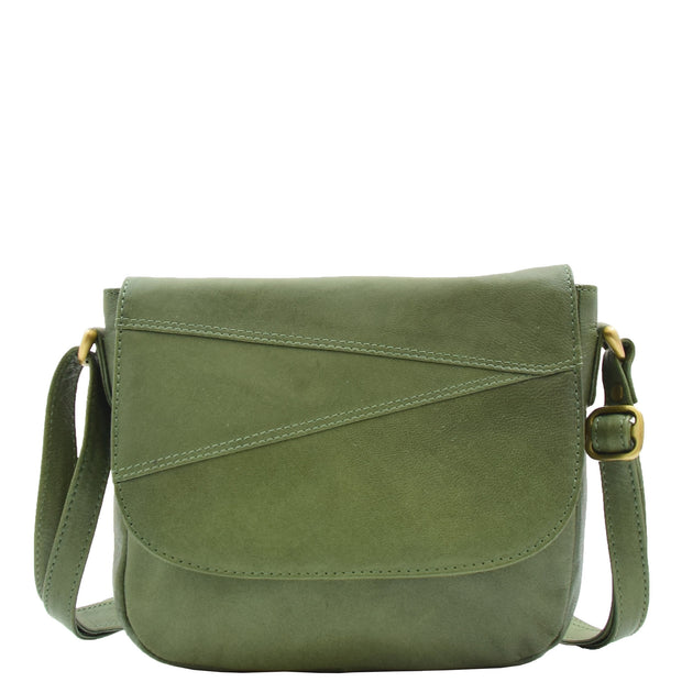 Womens Genuine Soft Green Leather Crossbody Bag Flap Over Organiser Gia 4