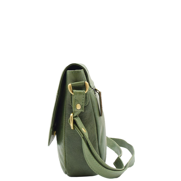 Womens Genuine Soft Green Leather Crossbody Bag Flap Over Organiser Gia 2