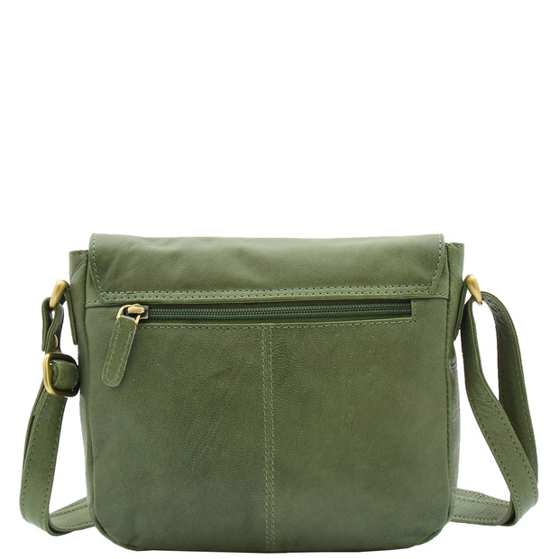 Womens Genuine Soft Green Leather Crossbody Bag Flap Over Organiser Gia 1
