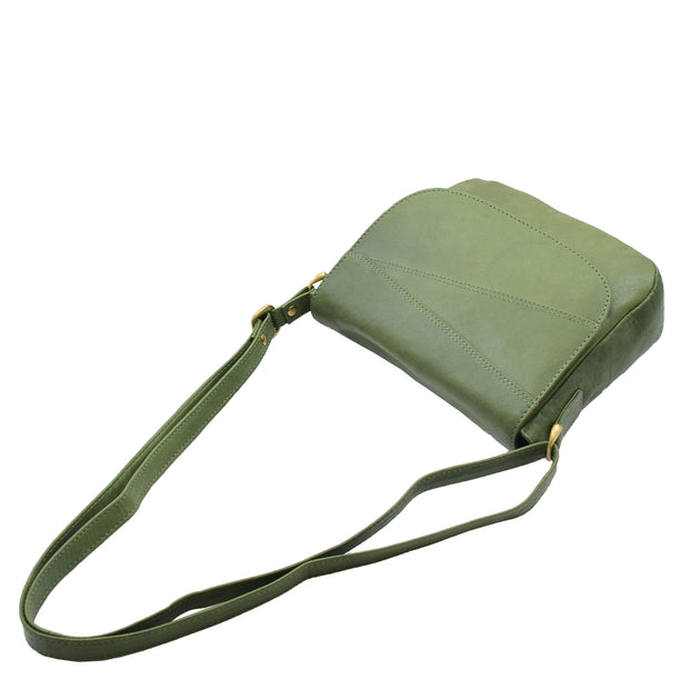 Womens Genuine Soft Green Leather Crossbody Bag Flap Over Organiser Gia 5
