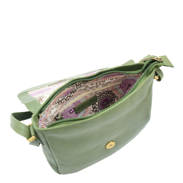 Womens Genuine Soft Green Leather Crossbody Bag Flap Over Organiser Gia 3