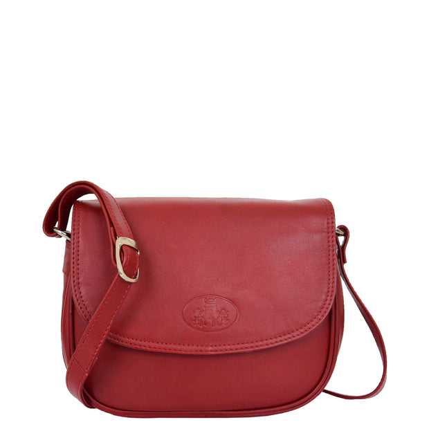 Womens Real Soft Leather Shoulder Bag Casual Cross Body Handbag Jazz Red Front 2