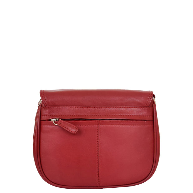 Womens Real Soft Leather Shoulder Bag Casual Cross Body Handbag Jazz Red Back