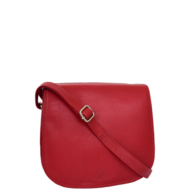 Womens Genuine Leather Saddle Bag Flap Over Cross Body Organiser Kat Red