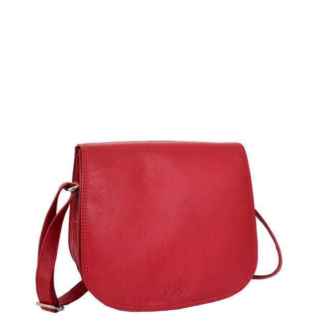 Womens Genuine Leather Saddle Bag Flap Over Cross Body Organiser Kat Red Front 2