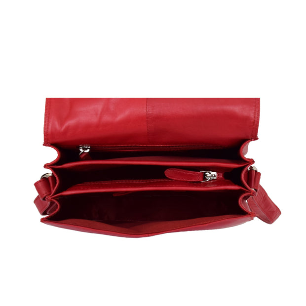 Womens Genuine Leather Saddle Bag Flap Over Cross Body Organiser Kat Red Open