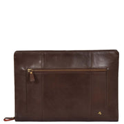 Real Leather Folio Tablet A4 Document Underarm Bailiff Bag A26 Brown Front