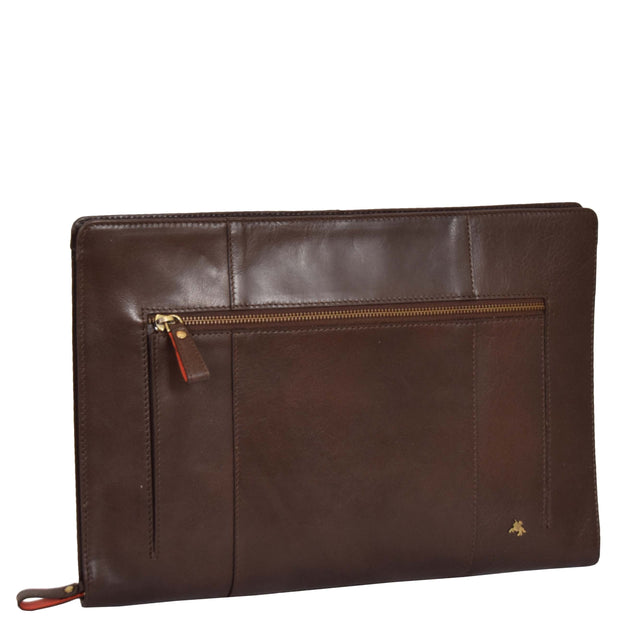 Real Leather Folio Tablet A4 Document Underarm Bailiff Bag A26 Brown