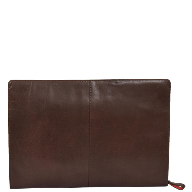 Real Leather Folio Tablet A4 Document Underarm Bailiff Bag A26 Brown Back