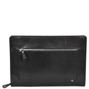 Real Leather Folio Tablet A4 Document Underarm Bailiff Bag A26 Black Front