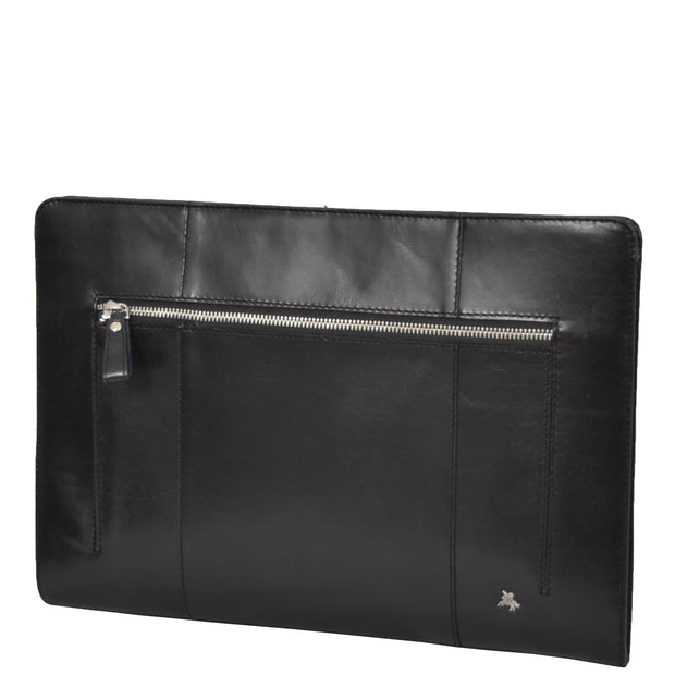 Real Leather Folio Tablet A4 Document Underarm Bailiff Bag A26 Black Front Angle