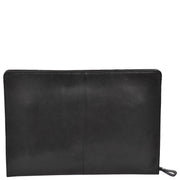 Real Leather Folio Tablet A4 Document Underarm Bailiff Bag A26 Black Back