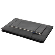 Real Leather Folio Tablet A4 Document Underarm Bailiff Bag A26 Black Letdown