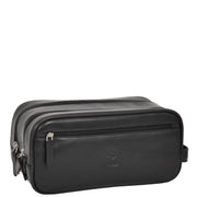 Real Leather Wash bag Travel Toiletry Cosmetic Wrist Bag Black AZ10