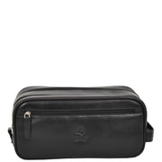 Real Leather Wash bag Travel Toiletry Cosmetic Wrist Bag Black AZ10 Front