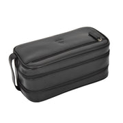 Real Leather Wash bag Travel Toiletry Cosmetic Wrist Bag Black AZ10 Letdown