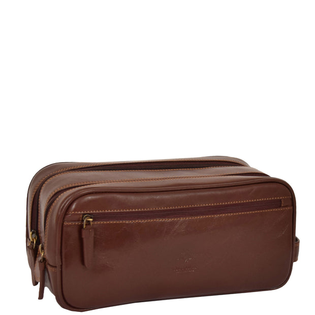 Real Leather Wash bag Travel Toiletry Cosmetic Wrist Bag Brown AZ10