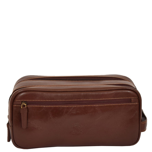 Real Leather Wash bag Travel Toiletry Cosmetic Wrist Bag Brown AZ10 Front