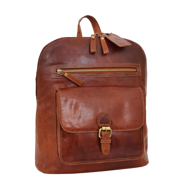Womens Real Cognac Leather Backpack Organiser Day Rucksack Campus Front Angle