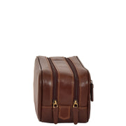 Real Leather Wash bag Travel Toiletry Cosmetic Wrist Bag Brown AZ10 Front Side
