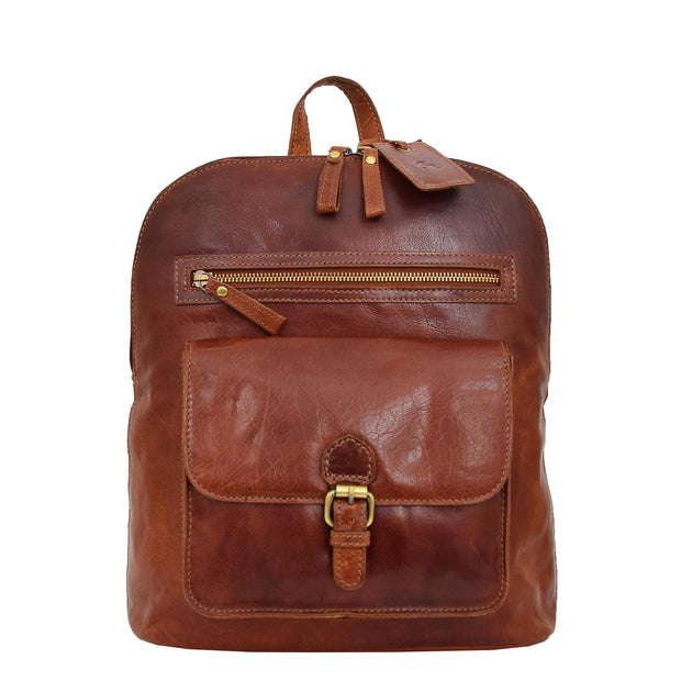 Womens Real Cognac Leather Backpack Organiser Day Rucksack Campus Front